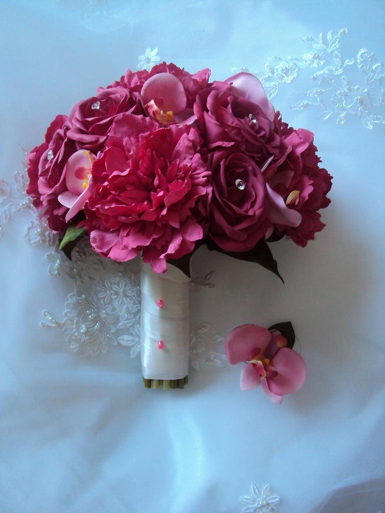 Hot Pink Real Touch Roses, Orchids and Peonies Wedding ...