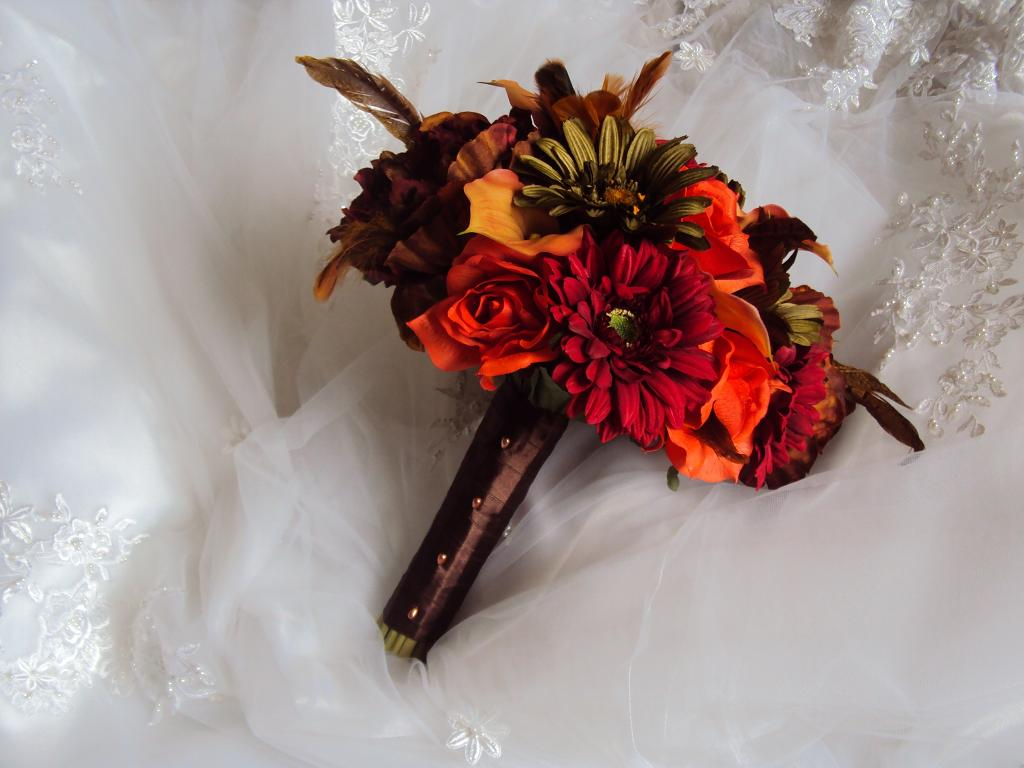 Fall Bouquet Orange Bridal Autumn Wedding Flowers Silk