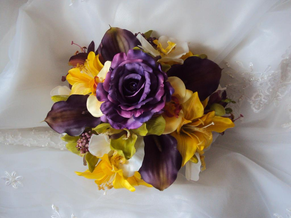 Real Touch Purple Calla Lilies Silk Yellow Day Lilies And Real Touch White Cymbidium Orchids