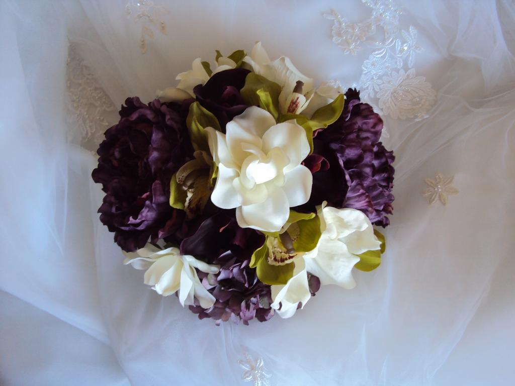 Eggplant Orchids Wedding Bouquet Top View Treasured Moments Flowers