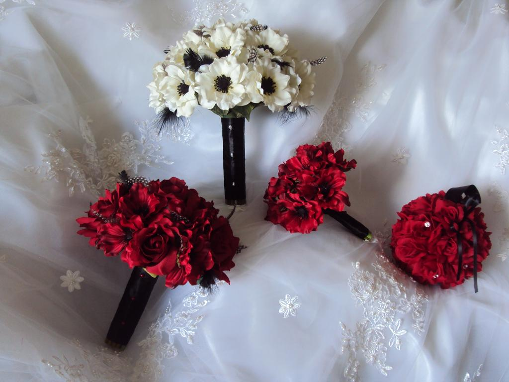 Silk White Amp Red Anemones With Black Feathers Wedding Bouquets